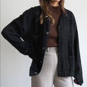 Vintage Talbots Linen Button Chore Jacket • L